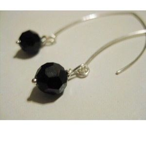 Jewelry - Sterling silver & black Czech Glass earrings.